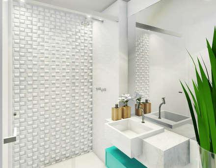 Estudo para apartamento na Barra da Tijuca: Banheiros modernos por JS Interiores