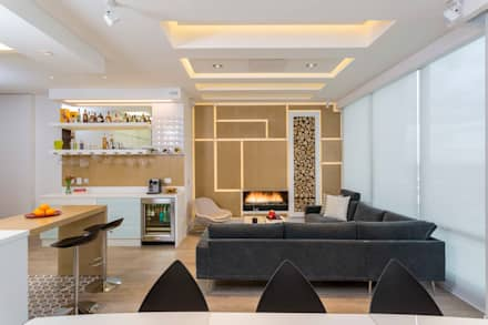 Apto Cr 2 - Cll 69: Salas de estilo moderno por Bloque B Arquitectos