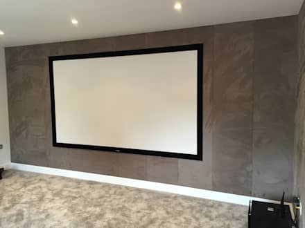 Cinema Room with bespoke suede fabric walls: modern Media room by Designer Vision and Sound