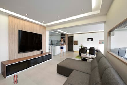 Modern Scandinavian HDB Apartment: modern Living room by HMG Design Studio