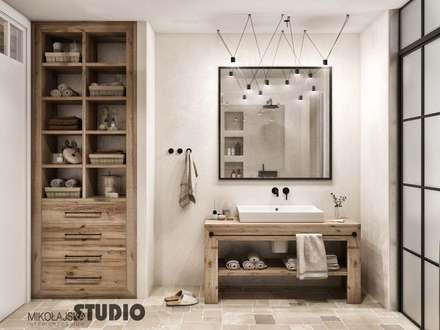 Hamptons Style Bathroom Provance Design: styl , w kategorii Łazienka zaprojektowany przez MIKOŁAJSKAstudio