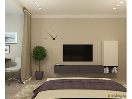 Two room apartment Promenad: minimalistic Living room by Студия дизайна интерьера Dking
