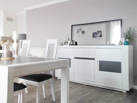 Rénovation maison traditionnelle corrézienne : Salle à manger de style de style Moderne par SAMANTHA DECORATION