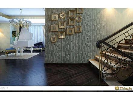 Ar-Deco interior of privet house:  Corridor & hallway by Студия дизайна интерьера Dking