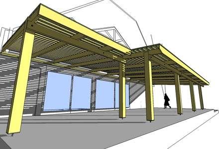 Modelo Pérgola Parrón techado: Terrazas  de estilo  por ARQUITECTURA E INGENIERIA PUNTAL LIMITADA