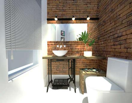 Baños de estilo rústico por Andressa Cobucci Estúdio