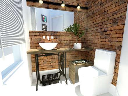 Lavabo Rústico: Banheiros rústicos por Andressa Cobucci Estúdio