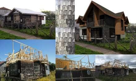 COLLAGE PROCESO DE OBRA Y FOTOMONTAJE: Casas de estilo rural por GerSS Arquitectos