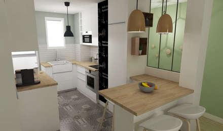 Rénovation d'un appartement toulousain des années 60: Cuisine de style de style Moderne par ML architecture d'intérieur et décoration
