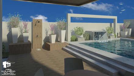 Regadera y alberca: Albercas de estilo topical por Arq Eduardo Galan, Arquitectura y paisajismo
