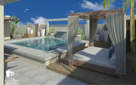Area de descanso y alberca: Albercas de estilo topical por Arq Eduardo Galan, Arquitectura y paisajismo