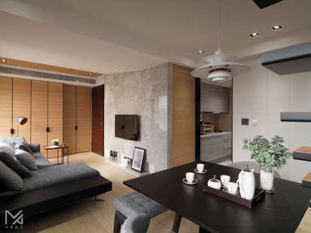 純粹、光線:  牆壁與地板 by 沐朋設計