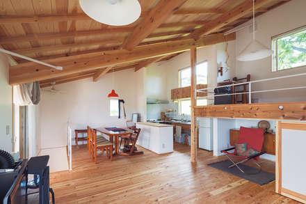 ワンルームの伸びやかな2階空間: 株式会社 建築工房零が手掛けたリビングです。