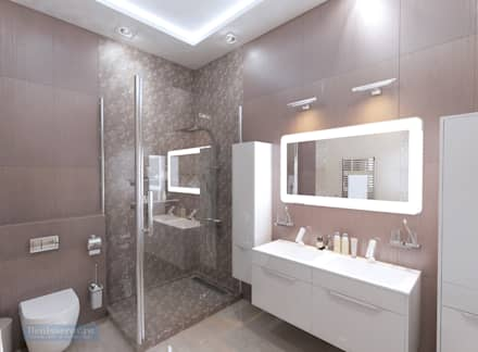 Дизайн общей ванной комнаты 10 кв. м в современном стиле на 2 этаже коттеджа: Ванные комнаты в . Автор – Студия интерьера Дениса Серова