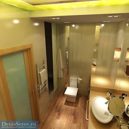 Ванная комната 12 кв. м в современном стиле: Ванные комнаты в . Автор – Студия интерьера Дениса Серова