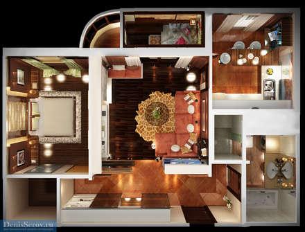 Дизайн-проект двухкомнатная квартира 60 кв. м в современном стиле: Стены в . Автор – Студия интерьера Дениса Серова