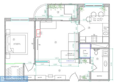Планировка объекта - двухкомнатная квартира 60 кв. м в современном стиле: Стены в . Автор – Студия интерьера Дениса Серова