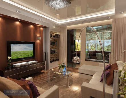 Гостиная комната 30 кв. м в однокомнатной квартире, современный стиль: Гостиная в . Автор – Студия интерьера Дениса Серова