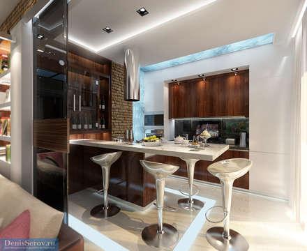 Кухня 11 кв. м в трехкомнатной квартире, современный стиль: Кухни в . Автор – Студия интерьера Дениса Серова