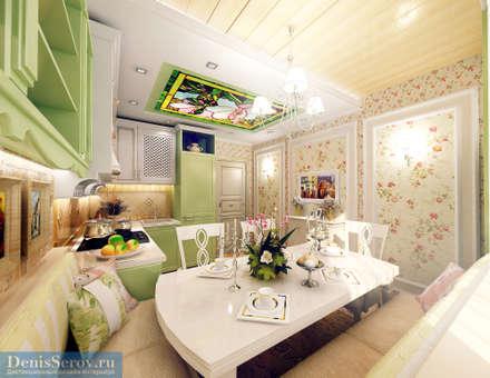 Столовая-кухня 12.2 кв. м в двухкомнатной квартире, стиль прованс: Столовые комнаты в . Автор – Студия интерьера Дениса Серова