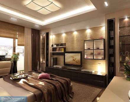 Спальная комната 28 кв. м в четырехкомнатной квартире, стиль ар-деко: Спальни в . Автор – Студия интерьера Дениса Серова