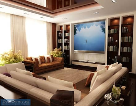 Зона TV в загородном доме, современный стиль: Медиа комнаты в . Автор – Студия интерьера Дениса Серова