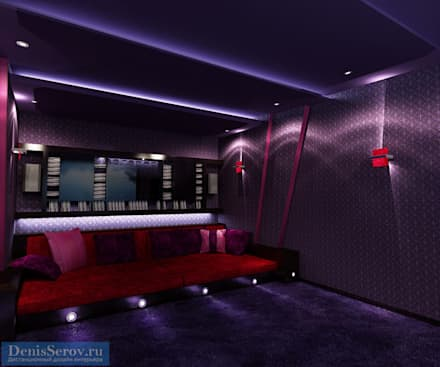 Кинотеатр в загородном подмосковном доме: Медиа комнаты в . Автор – Студия интерьера Дениса Серова