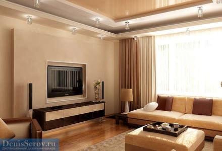 Гостиная в трехкомнатной квартире 60 кв. м в современном стиле: Гостиная в . Автор – Студия интерьера Дениса Серова