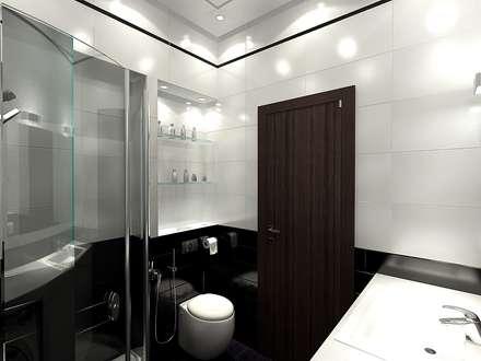 Ванная комната 4 кв. м в однокомнатной квартире, стиль минимализм: Ванные комнаты в . Автор – Студия интерьера Дениса Серова