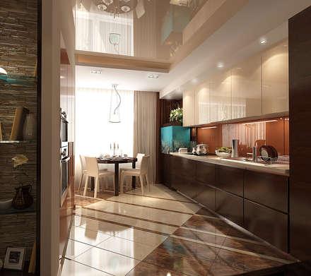 Кухня-столовая 16 кв. м в пятикомнатной квартире, современный стиль: Столовые комнаты в . Автор – Студия интерьера Дениса Серова