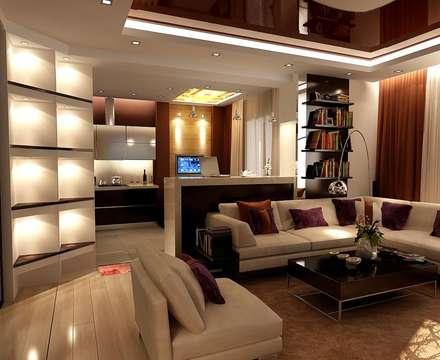Гостиная 14 кв. м в двухкомнатной квартире, современный стиль: Гостиная в . Автор – Студия интерьера Дениса Серова