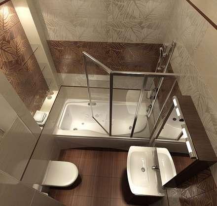 Ванная комната 6 кв. м в двухкомнатной квартире, современный стиль: Ванные комнаты в . Автор – Студия интерьера Дениса Серова