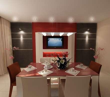Столовая-кухня 12 кв. м в стиле минимализм: Столовые комнаты в . Автор – Студия интерьера Дениса Серова