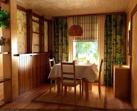 Гостиная-кухня в деревенском стиле: Столовые комнаты в . Автор – Студия интерьера Дениса Серова