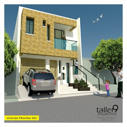 Fachada Principal: Casas de estilo moderno por TALLER 9, ARQUITECTURA