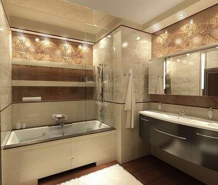 Ванная комната 7 кв. м в современном стиле: Ванные комнаты в . Автор – Студия интерьера Дениса Серова