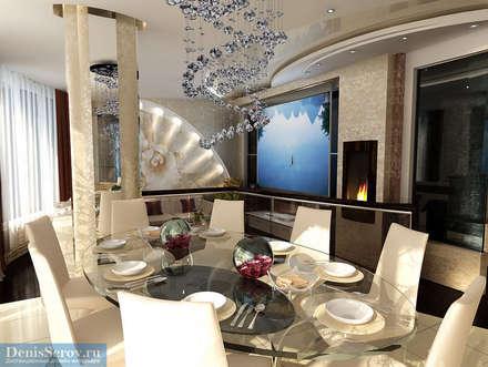 Кухня-столовая в современном стиле: Столовые комнаты в . Автор – Студия интерьера Дениса Серова