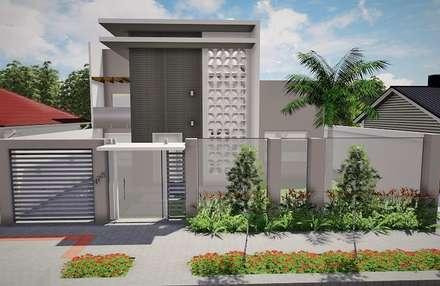 Muro - Portão de Entada da Residência BS: Casas modernas por Ivonete Teixeira Arquitetura