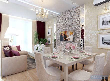 Кухня-гостиная 30 кв. м в современной классике: Столовые комнаты в . Автор – Студия интерьера Дениса Серова