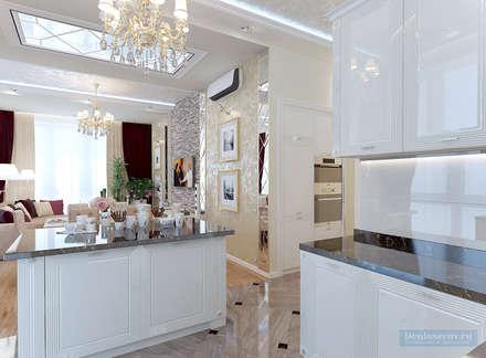 Кухня-гостиная 30 кв. м в современной классике: Кухни в . Автор – Студия интерьера Дениса Серова