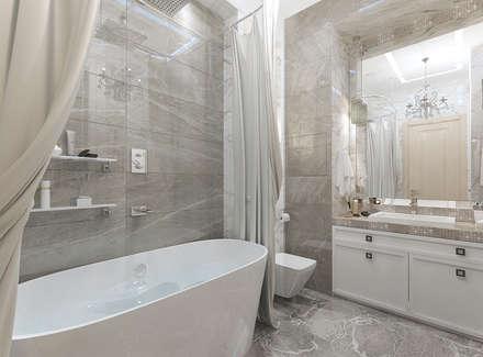 Ванная комната 6 кв. м в современной классике: Ванные комнаты в . Автор – Студия интерьера Дениса Серова