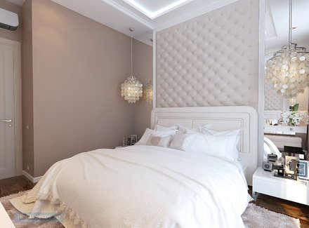 Спальня 12 кв. м в современной классике: Спальни в . Автор – Студия интерьера Дениса Серова