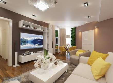 Кухня-гостиная 35 кв. м в современном стиле: Гостиная в . Автор – Студия интерьера Дениса Серова