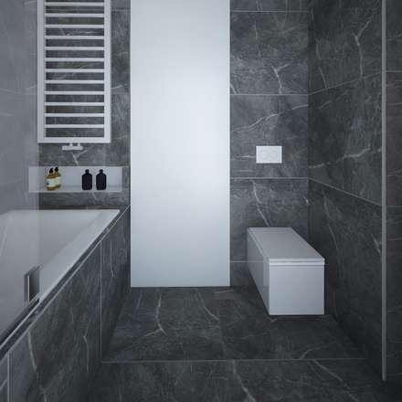 Łazienka w szarościach.: styl , w kategorii Łazienka zaprojektowany przez maakk studio