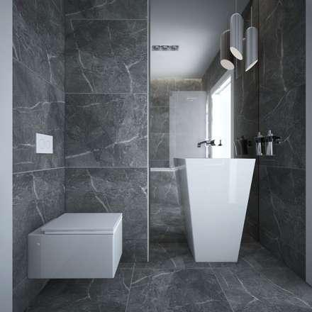 Wolno-stojąca umywalka Marmorin.: styl , w kategorii Łazienka zaprojektowany przez maakk studio