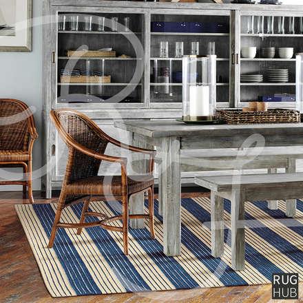 SHIMMER MIDNIGHT BLUE: rustic Dining room by Rug Hub