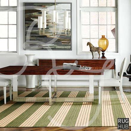SHIMMER SAGE: rustic Dining room by Rug Hub