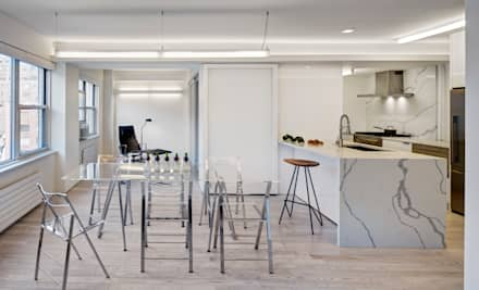 Dining Area Looking into Study: modern Dining room by Lilian H. Weinreich Architects