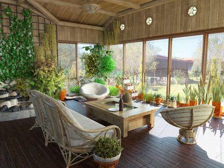 Jardines de invierno de estilo clásico por Первое Дизайн-Бюро