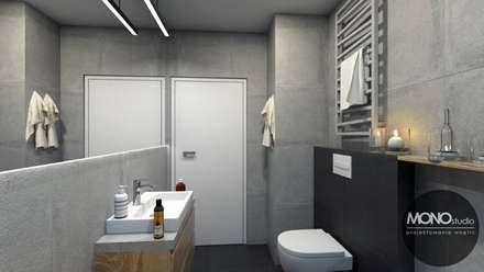 Łazienka w bieli i czerni: styl , w kategorii Łazienka zaprojektowany przez MONOstudio